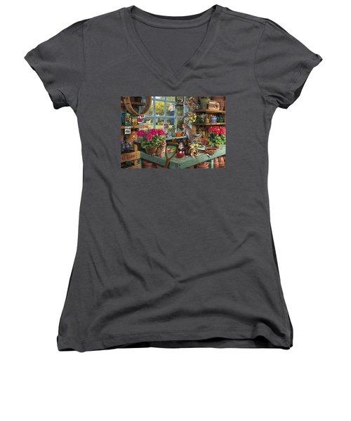 Grandpa's Potting Shed Women's V-Neck T-Shirt (Junior Cut) by Steve Read