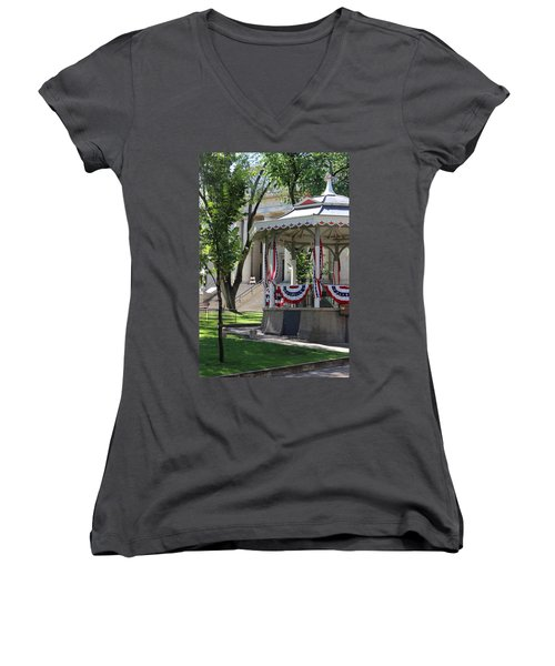 Women's V-Neck T-Shirt (Junior Cut) featuring the photograph Grandstand Patriotism  by Natalie Ortiz