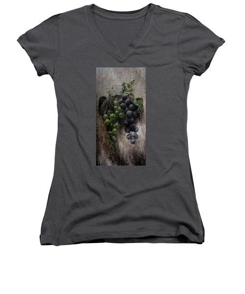 Women's V-Neck T-Shirt (Junior Cut) featuring the digital art Off The Vine by Aaron Berg