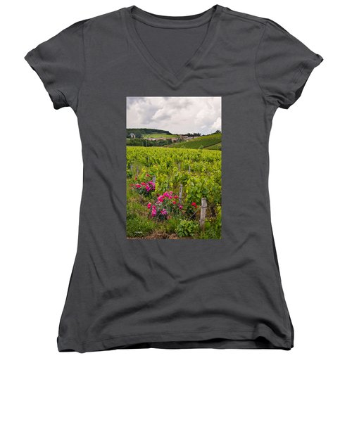 Women's V-Neck T-Shirt (Junior Cut) featuring the photograph Grapes And Roses by Allen Sheffield