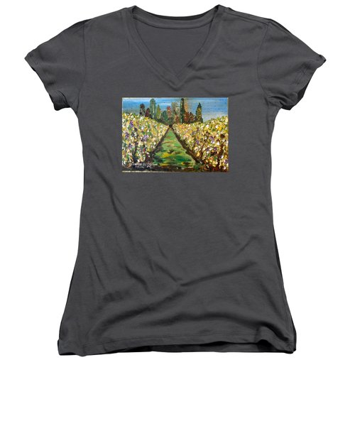 Grapes Of Tuscany Women's V-Neck (Athletic Fit)