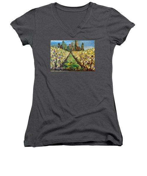 Grapes Of Tuscany Women's V-Neck T-Shirt