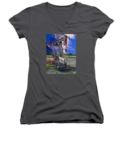 Women's V-Neck T-Shirt (Junior Cut) featuring the photograph Grasshopper by Ella Kaye Dickey