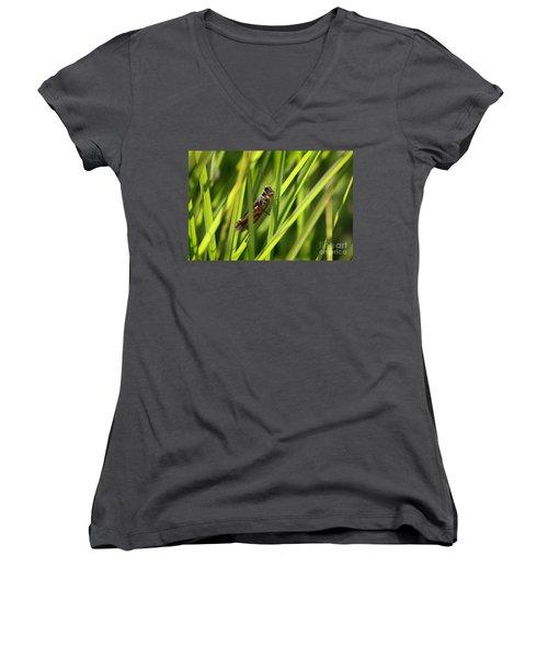 Grasshopper In Grass Women's V-Neck