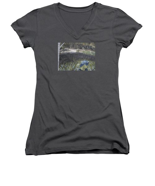 Great Blue Heron In Flight Women's V-Neck T-Shirt (Junior Cut)