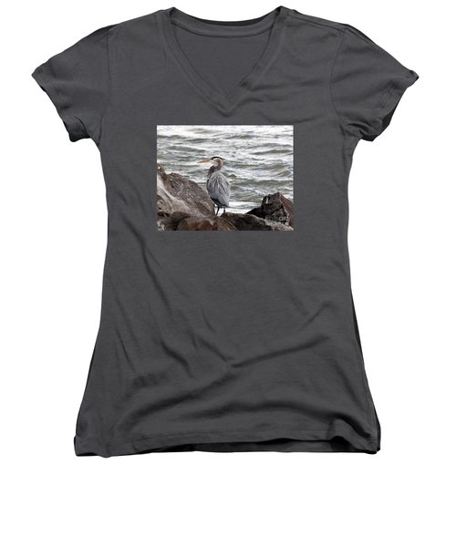 Women's V-Neck T-Shirt (Junior Cut) featuring the photograph Great Blue Heron by Trina  Ansel