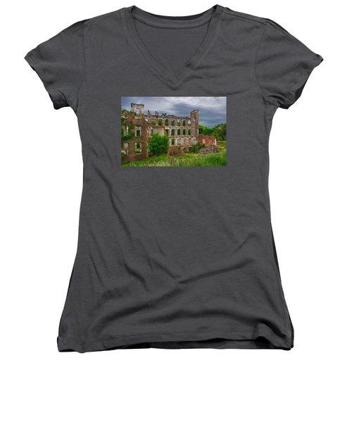 Great Falls Mill Ruins Women's V-Neck T-Shirt (Junior Cut) by Priscilla Burgers