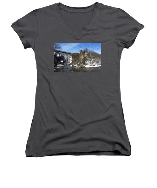 Great Falls Painted Women's V-Neck T-Shirt