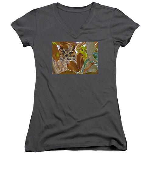 Women's V-Neck T-Shirt (Junior Cut) featuring the photograph Great Horned Owl by Meghan at FireBonnet Art