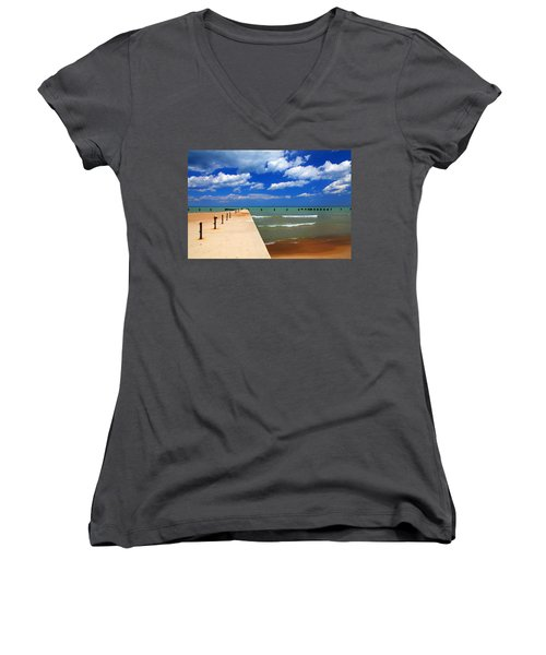 Great Lake Horizon Clouds Women's V-Neck