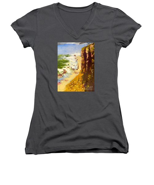 Women's V-Neck T-Shirt (Junior Cut) featuring the painting Great Ocean Road by Pamela  Meredith
