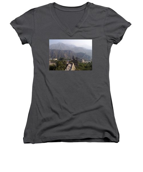 Great Wall Of China At Badaling Women's V-Neck T-Shirt (Junior Cut) by Debbie Oppermann