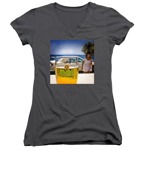 Greek Beer Goggles Women's V-Neck T-Shirt (Junior Cut) by Meirion Matthias