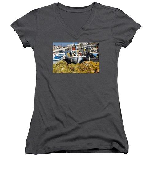 Greek Fishing Harbour Women's V-Neck T-Shirt