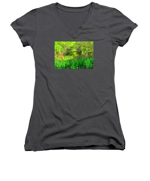 Women's V-Neck T-Shirt (Junior Cut) featuring the photograph Green As Emerald's by Michael Hoard