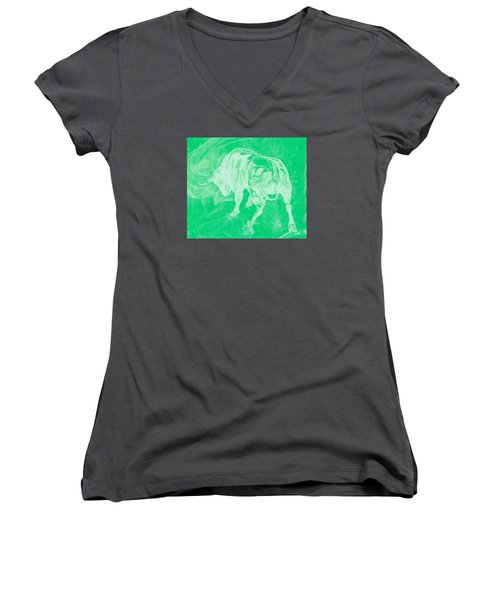 Green Bull Negative Women's V-Neck
