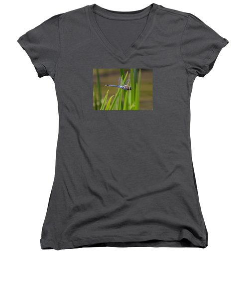 Green Darner Flight Women's V-Neck T-Shirt (Junior Cut) by David Lester
