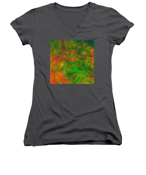 Women's V-Neck T-Shirt (Junior Cut) featuring the digital art Green Green Grass Of Home by Svetlana Nikolova