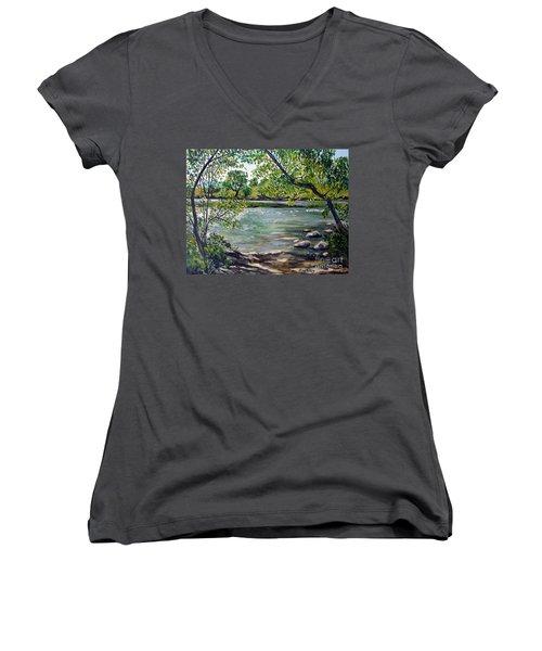 Green Hill Park On The Roanoke River Women's V-Neck T-Shirt