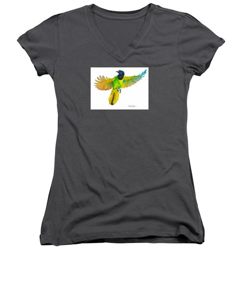 Da175 Green Jay By Daniel Adams Women's V-Neck (Athletic Fit)