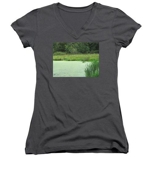 Women's V-Neck T-Shirt (Junior Cut) featuring the photograph Green Moss by Tina M Wenger