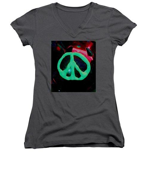 Peace Symbol Women's V-Neck T-Shirt