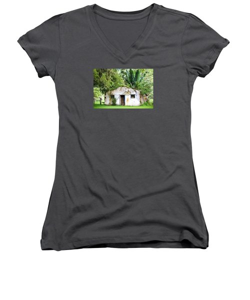 Green Roof Women's V-Neck T-Shirt (Junior Cut) by Menachem Ganon