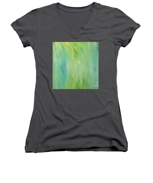 Green Shades Women's V-Neck T-Shirt (Junior Cut) by Barbara Yearty