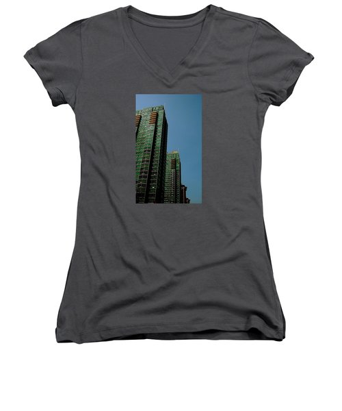 Green Vancouver Towers Women's V-Neck T-Shirt