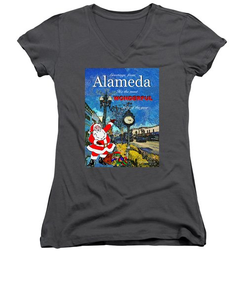Women's V-Neck T-Shirt (Junior Cut) featuring the photograph Alameda Christmas Greeting by Linda Weinstock