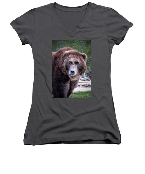 Grizzly Women's V-Neck T-Shirt (Junior Cut) by Athena Mckinzie