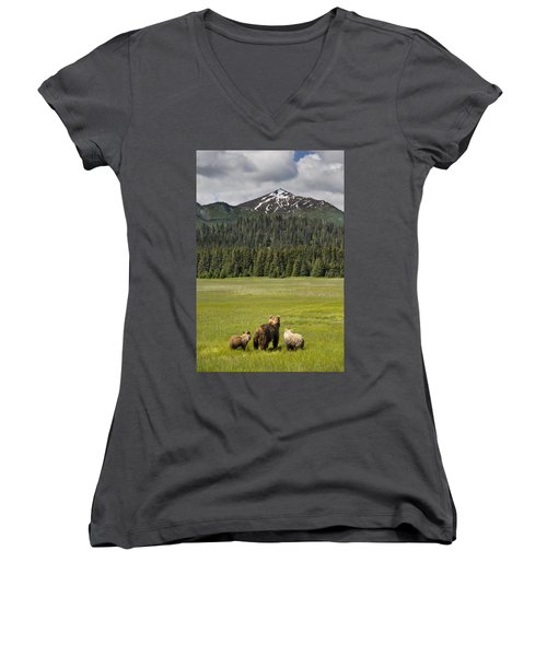 Grizzly Bear Mother And Cubs In Meadow Women's V-Neck
