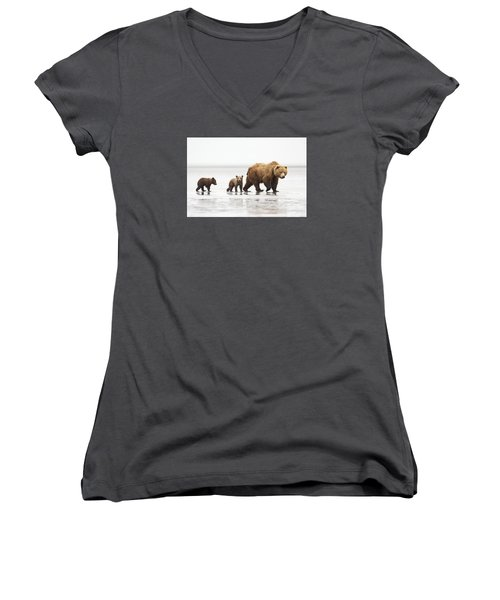 Grizzly Bear Mother And Cubs Lake Clark Women's V-Neck