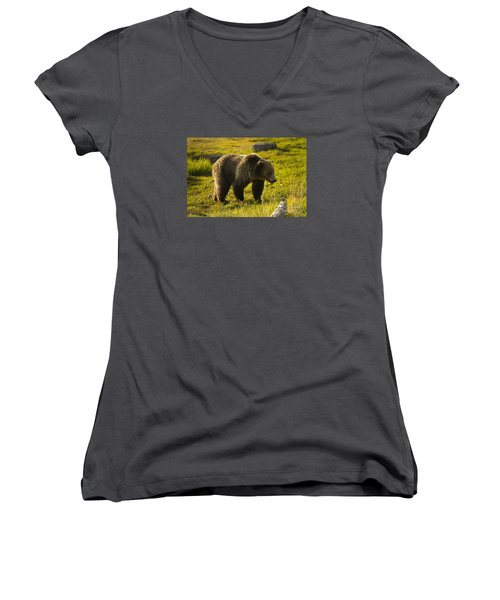 Grizzly Bear-signed-#4477 Women's V-Neck T-Shirt (Junior Cut) by J L Woody Wooden