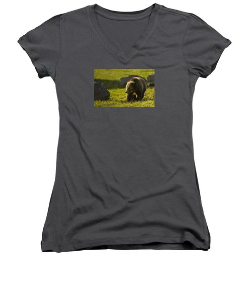 Grizzly Bear-signed-#4545 Women's V-Neck (Athletic Fit)