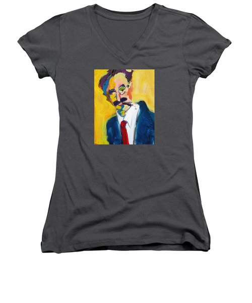 Groucho Women's V-Neck T-Shirt (Junior Cut) by Les Leffingwell