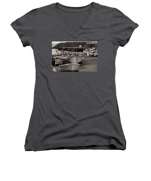 Groups Of Fishing Boats With Life Preservers Docked  Women's V-Neck T-Shirt