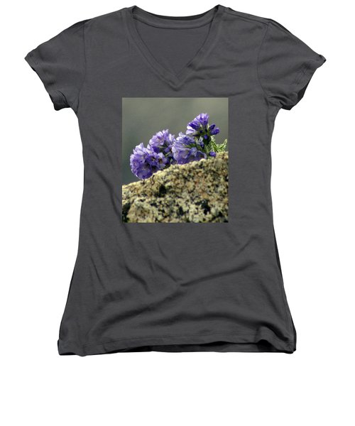 Women's V-Neck T-Shirt (Junior Cut) featuring the photograph Growing In Granite by Jeremy Rhoades