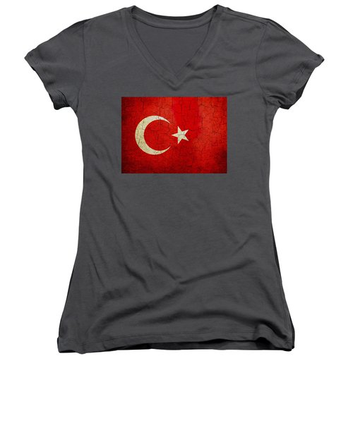 Grunge Turkey Flag Women's V-Neck T-Shirt
