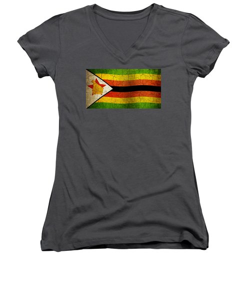 Grunge Zimbabwe Flag Women's V-Neck T-Shirt
