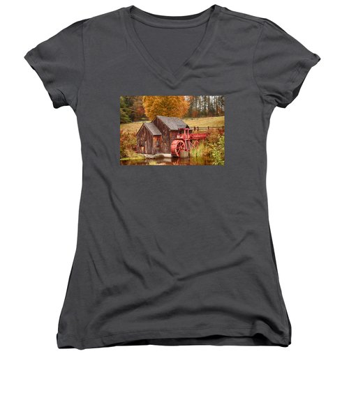 Women's V-Neck T-Shirt (Junior Cut) featuring the photograph Guildhall Grist Mill by Jeff Folger