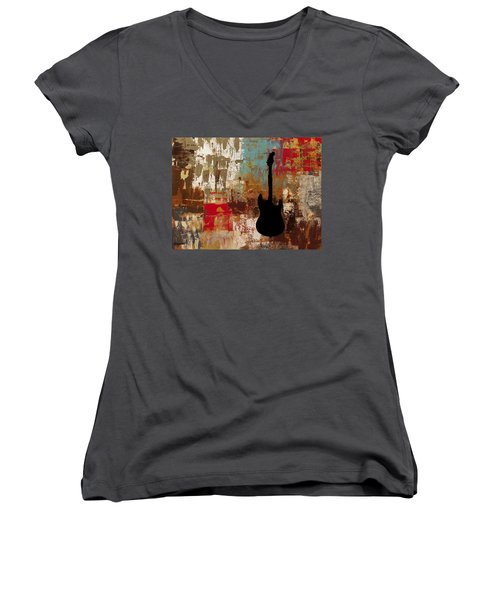 Guitar Solo Women's V-Neck (Athletic Fit)