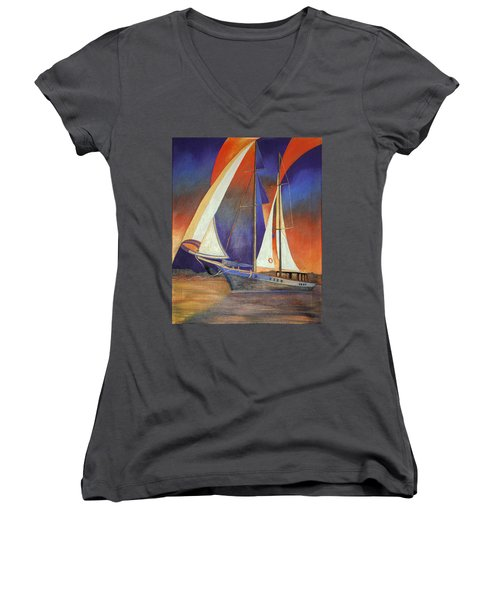 Gulet Under Sail Women's V-Neck T-Shirt