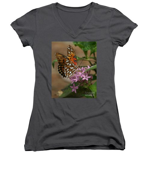Gulf Fritillary Butterfly Women's V-Neck (Athletic Fit)