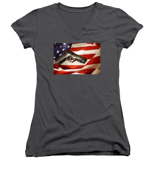 Gun On Flag Women's V-Neck T-Shirt
