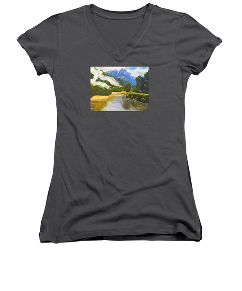 Women's V-Neck T-Shirt (Junior Cut) featuring the painting Haast River New Zealand by Pamela  Meredith