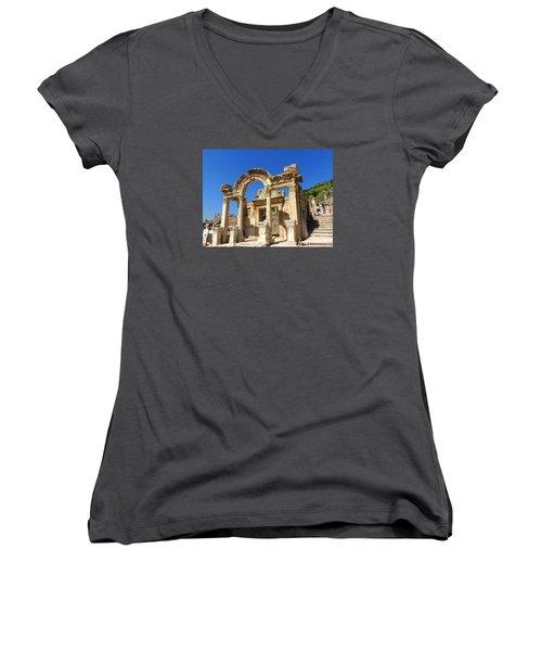 Women's V-Neck T-Shirt (Junior Cut) featuring the photograph Hadrian Temple Ephesus by Lou Ann Bagnall