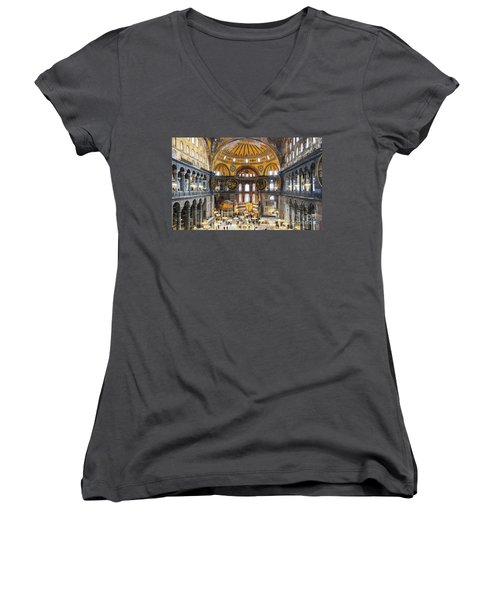 Hagia Sofia Interior 35 Women's V-Neck T-Shirt (Junior Cut) by Antony McAulay