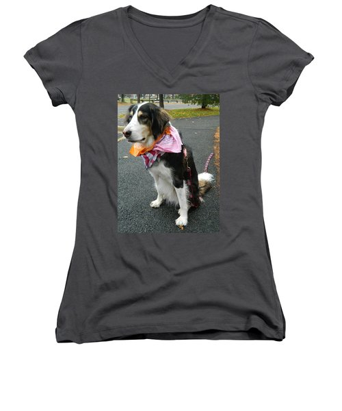 Women's V-Neck T-Shirt (Junior Cut) featuring the photograph Haley The Wonder Dog by Emmy Marie Vickers