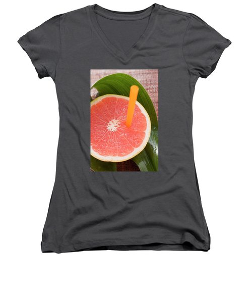 Half A Pink Grapefruit With A Straw Women's V-Neck T-Shirt